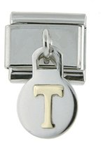Sabrina Silver Stainless Steel 18k Gold Initial Charm T for Italian Charm Bracelets