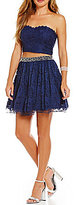 Jodi Kristopher Two-Piece Strapless Lace Top Party Dress