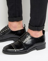 Asos Derby Shoes In Black Leather With Stud Detailing