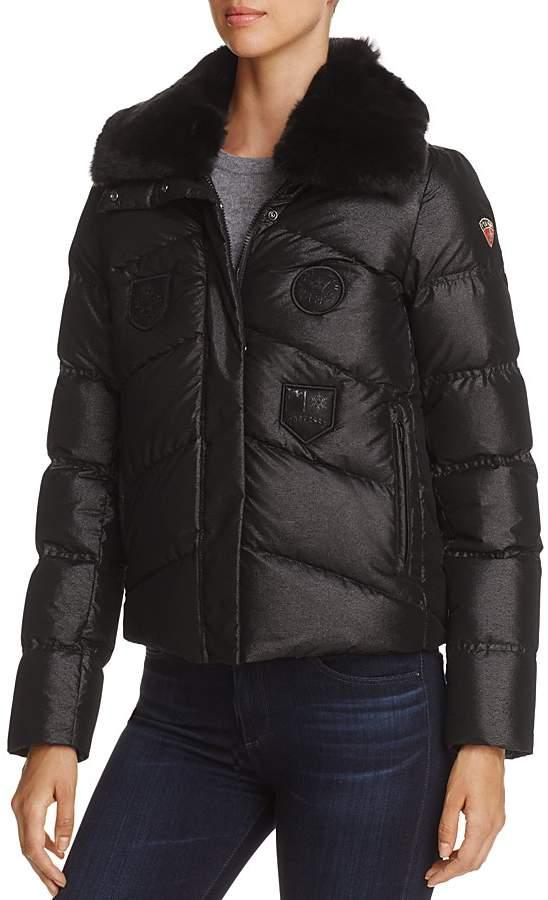 Post Card Greylock Fur Trim Short Down Coat