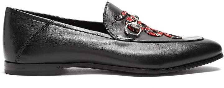 Gucci Brixton snake-appliqué leather loafers