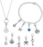 Brilliance+ Brilliance Silver Plated 12 Days Of Joy Christmas Charm, Bracelet & Necklace Set - Made with Swarovski Crystals