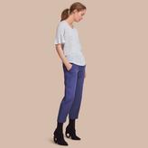Burberry Bell-sleeve Check Detail Striped Linen T-shirt