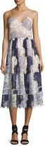 Self-Portrait Camellias Sleeveless Guipure Lace Midi Dress, Lavender Multicolor