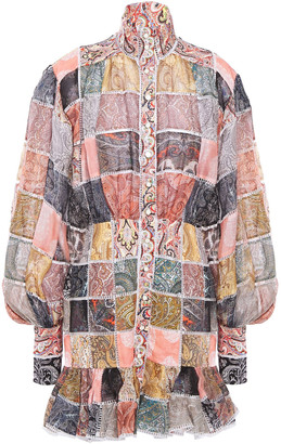 Zimmermann Patchwork-effect Printed Linen And Silk-blend Gauze Mini Dress
