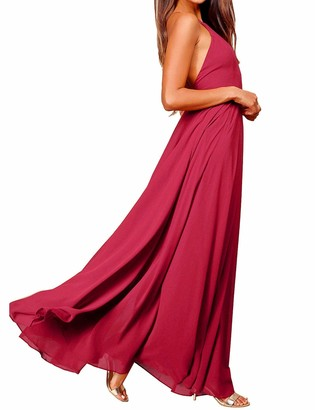 FANCYINN Women Spaghetti Strap Summer Prom Maxi Dresses Bridesmaid Formal Long Holiday Party Evening Dress Slate Blue L
