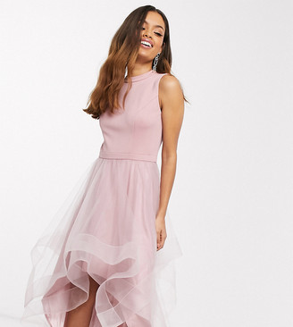 Chi Chi London Petite high low organza prom dress in mink
