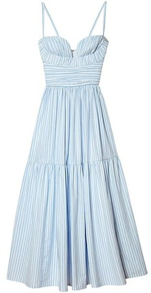 Carolina Herrera Spaghetti Strap Gathered Midi Dress