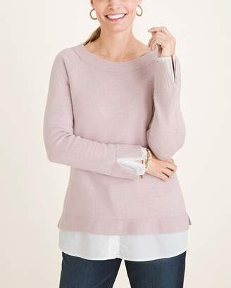 Chico's Chicos Knit Woven-Hem Bateau-Neck Pullover Sweater