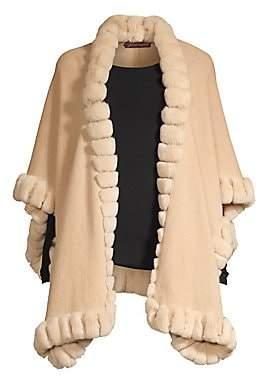 Glamour Puss Glamourpuss Women's Oversized Rabbit Fur-Trim Cashmere Cape