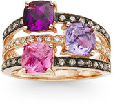 Le Vian Chocolatier LEVIAN CORP LIMITED QUANTITIES Grand Sample Sale by Genuine Passion Fruit Tourmaline, Rhodolite and Amethyst set in 14k Strawberry Gold Ring