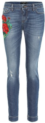 Dolce & Gabbana Embroidered low-rise skinny jeans