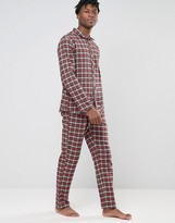 Esprit Pajamas In Flannel Check in Regular Fit