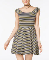 Planet Gold Juniors' Striped Off-The-Shoulder Skater Dress