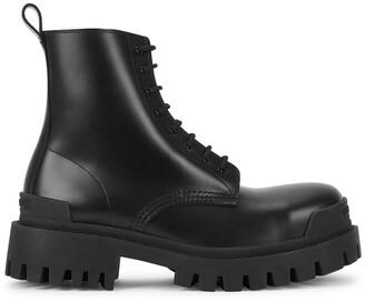 Balenciaga Strike 50 black leather ankle boots