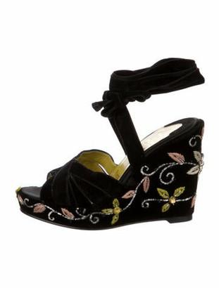 Christian Louboutin Patterned Crystal Embellishments Sandals Black