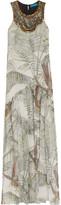 Matthew Williamson Embellished printed washed-silk maxi dress