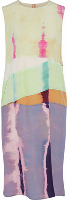 Acne Studios Paneled Tie-dyed Silk-crepe Dress