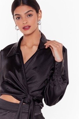 Nasty Gal Womens Studio Sleek for You Satin Shirt - Black - 12