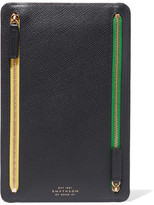 Smythson Panama Textured-leather Wallet - Navy