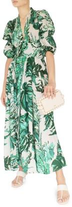 Cult Gaia Willow Puff-Sleeve Linen Maxi Dress