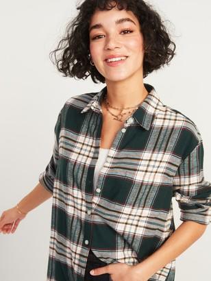 Old Navy Oversized Plaid Flannel Boyfriend Tunic Shirt for Women