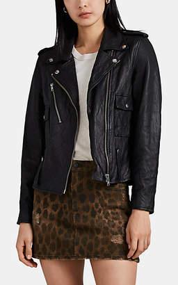 NSF Women's Colton Wrinkled Leather Moto Jacket - Black