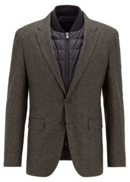 HUGO BOSS Wool Blend Slim Fit Jacket With Detachable Inner - Light Green