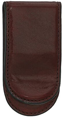 Bosca Old Leather Collection - Leather Covered Money Clip (Dark Brown) Wallet Handbags