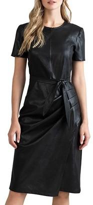 Shoshanna Pratt Faux Leather Short-Sleeve Dress
