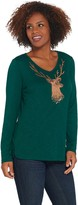 Factory Quacker Metallic Reindeer Long-Sleeve Knit Top