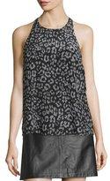Joie Brighton Animal-Print Sleeveless Silk Top