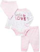 Baby Essentials Pink Hearts 'Little Love' Long-Sleeve Bodysuit Set - Infant