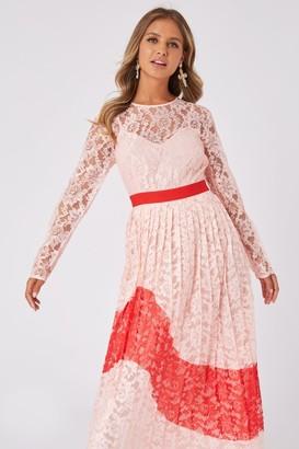Little Mistress Mimi Nude Lace Colour Block Midaxi Dress