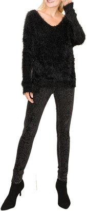 Olivia Pratt Furry Eyelash Knit Twist Back Sweater