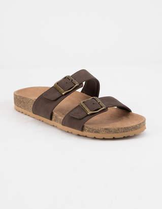 Soda Sunglasses Double Buckle Brown Womens Slide Sandals