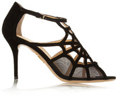 Charlotte Olympia Lotte Cutout Suede And Mesh Sandals - Black