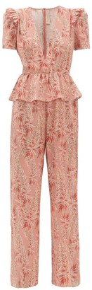 Adriana Degreas Aloe-print Ruffled Peplum Silk-crepe Jumpsuit - Pink Print