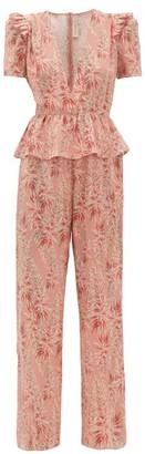 Adriana Degreas Aloe Print Ruffled Peplum Silk Crepe Jumpsuit - Womens - Pink Print