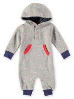 Rockin' Baby Lost in Deep Space Star Print Hooded Rory Romper in Grey