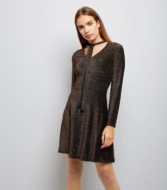 New Look Mela Glitter Tie Neck Front Dress