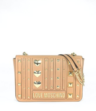 Love Moschino Camel Heart Studs Eco-leather Shoulder Bag