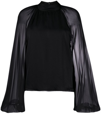 FEDERICA TOSI Sheer Sleeve Silk Blouse