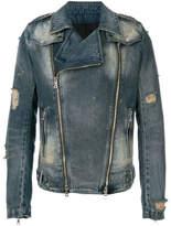 Balmain Biker Denim Jacket - Blue - Size M