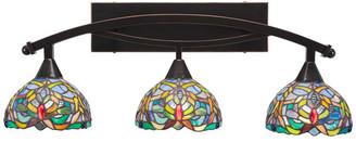 "Toltec Lighting Bow 3-Light Bath Bar, with 7"" Kaleidoscope Art Glass, Black Copper"
