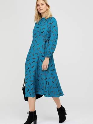 Monsoon Sadie Leopard Print Tie Midi Dress