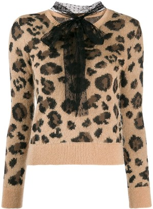 RED Valentino pussybow leopard print jumper