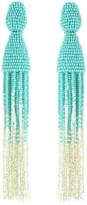 Oscar de la Renta Celeste Ombré Beaded Long Tassel Earrings