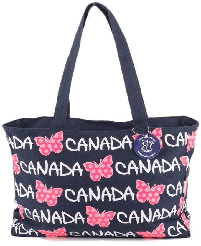638558516538 Robin Ruth Canada Butterfly Tote Bag – Beautiful Multi-purpose Everyday  Canvas Travel Shoulder Bag for Shopping, Work & School - Navy