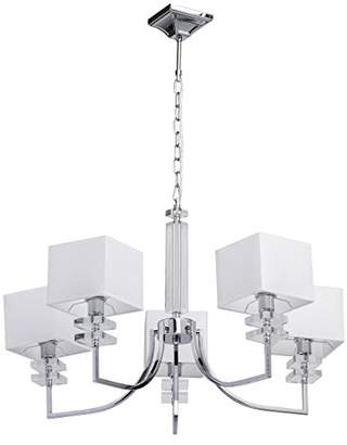 Ceiling light chrome metal white square fabric lampshade modern living room (Chandelier 5)
